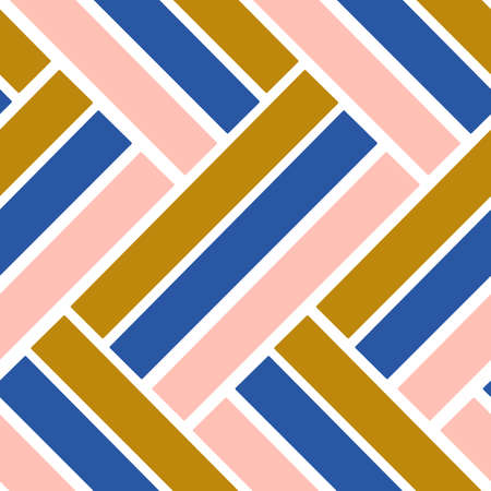 pink, blue and gold geometric elements in a seamless pattern design Vectores