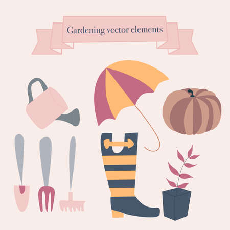 Rubber boots, flowers and gardening icons. Vector elements