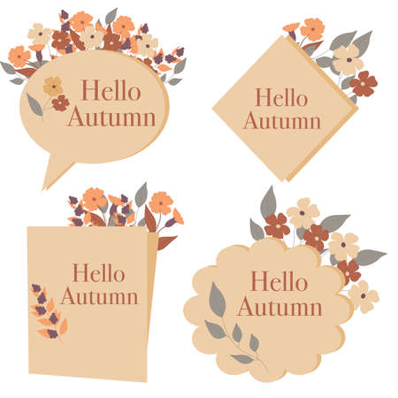 Hello autumn, vector bannner design with colorful flowers and leaves. Vector elements Imagens - 133286750