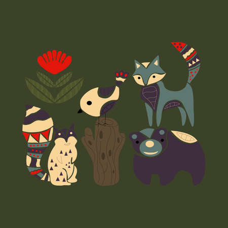 Colorful bear, fox, squirrel and birs in an autumn illustration Vetores