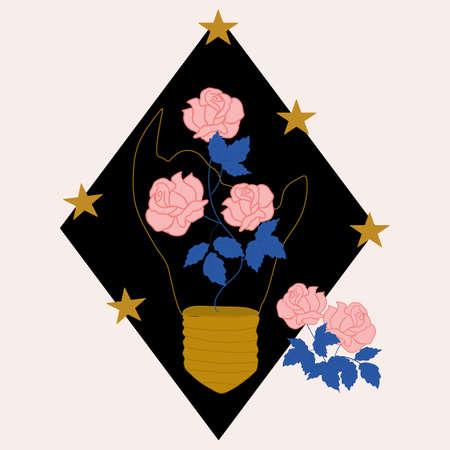Elegant roses and broken lighter, vector illustration Illustration