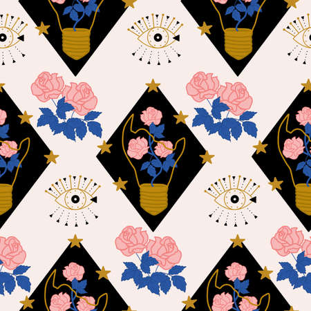 Elegant seamless pattern with broken glass and roses