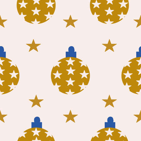 Golden christmas ornaments in a seamless pattern design