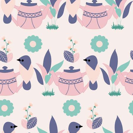 pink and purple birds and leaves Ilustración de vector