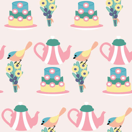 Tea, flowers and pots seamless pattern