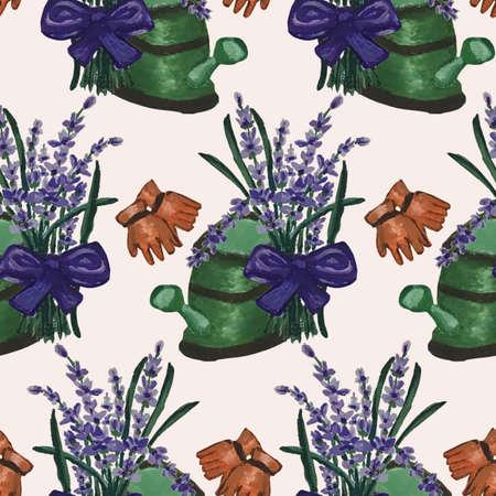 Beautiful lavander bouquet and green watercan Zdjęcie Seryjne