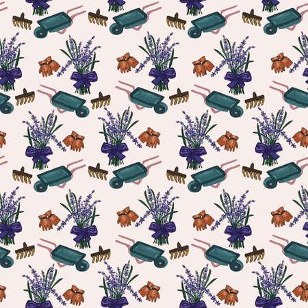 Beautiful seamless pattern with lavender, rake and gloves Zdjęcie Seryjne