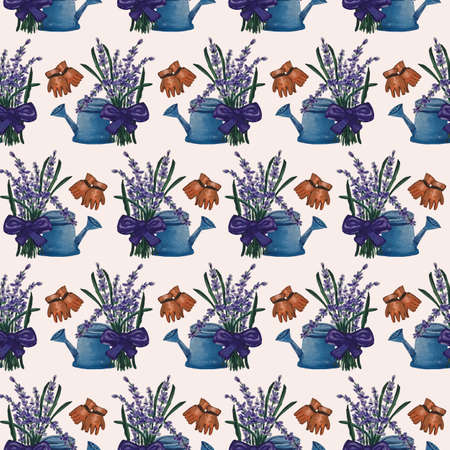 Blue water can, lavender and gloves in a seamless pattern design Zdjęcie Seryjne