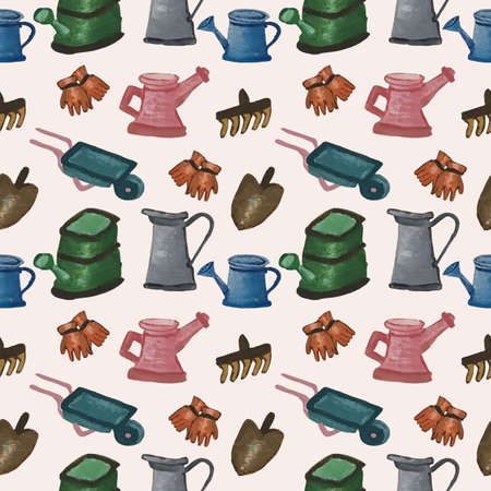 Colorful gardening elements in a seamless pattern design
