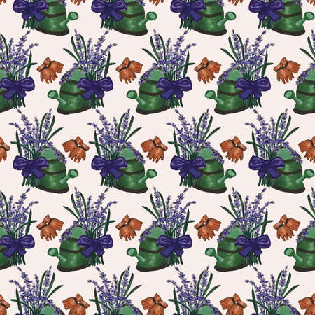 Green water can and lavender in a seamless pattern design