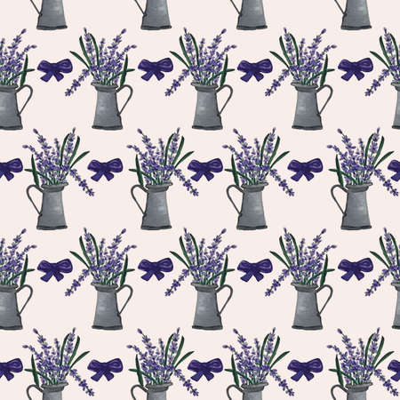 Grey water can and lavender in a seamless pattern design