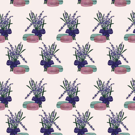 Lavender and macaroons in a seamless pattern design