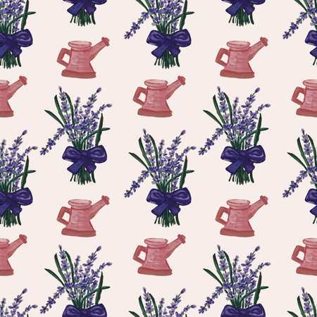 lavender seamless pattern and pink water can