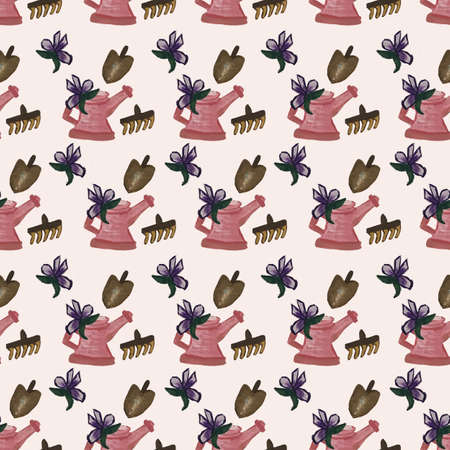 Pink water can and gardening elements in a seamless pattern design