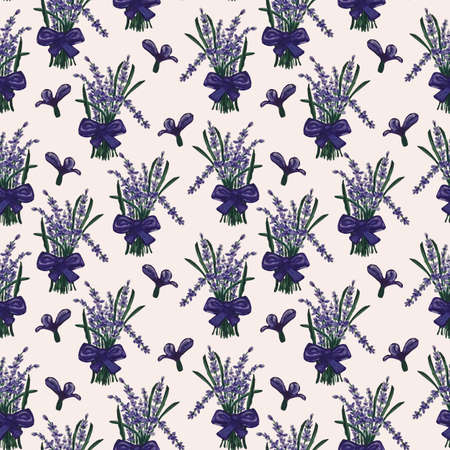 Purple seamless pattern with beautiful lavender bouquet