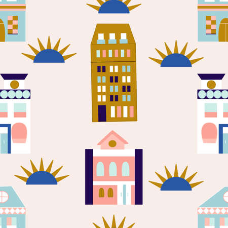 Colotrful houses. in a seamless pattern design Illustration