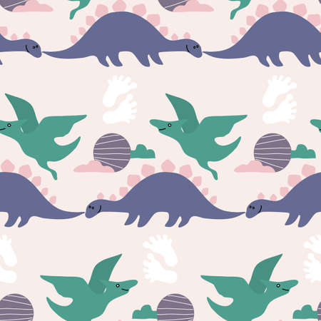 seamless pattern design with purple and green dinosaur