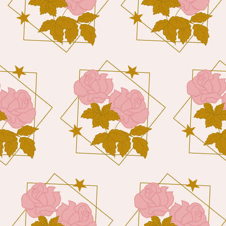 Elegant pink roses and geometrics in a seamless pattern design