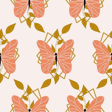 Orange butterflies and leaves in a seamless pattern design