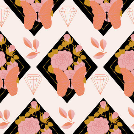 Pink and orange roses and butterflies in a seamless pattern design Ilustracja