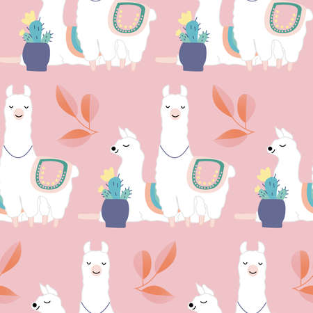 Cute llamas and colorful leaves and flowers, seamless pattern