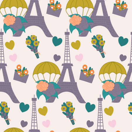 eiffel tour, picnic basket and hat in a seamlss pattern design Ilustrace