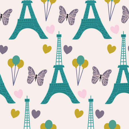 Eiffel tour, butterfly. and baloons in a seamless pattern design
