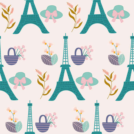 eiffel tour, picnic basket and hat in a seamlss pattern design Illusztráció