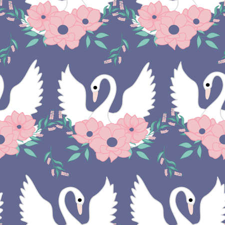 beautiful swan and flowers, seamless pattern design Ilustracja