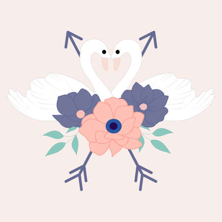flower bouquet and lovely swans, vector illustrations