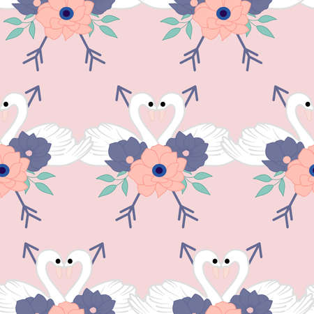 lovely swans in a seamless pattern design Ilustracja