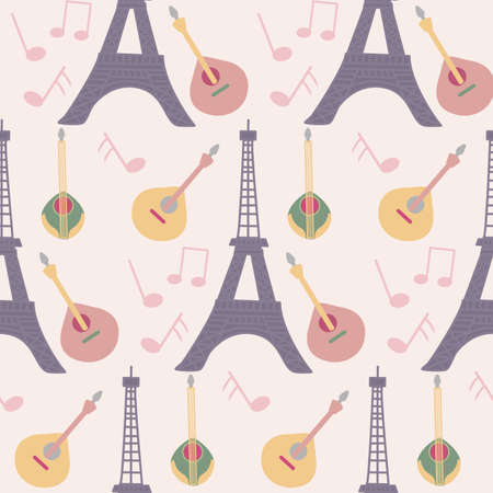 tour eiffel, guitars and music in a seamless pattern design