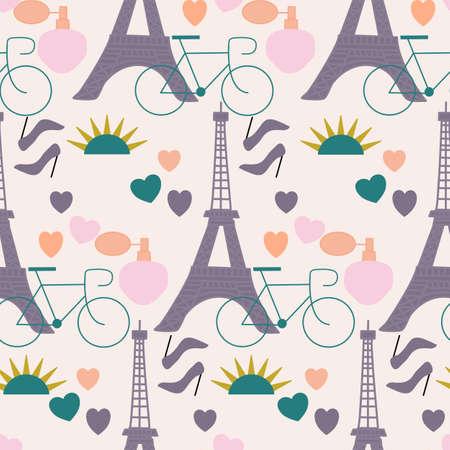 Tour eiffel, hearts, high heals in a seamless pattern design