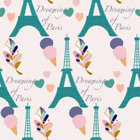 toureiffel, ice creams and colorful leaves, pattern design Ilustrace