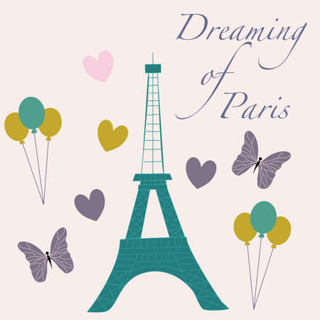 vector illustration with tour eiffel, butterflies and balloons