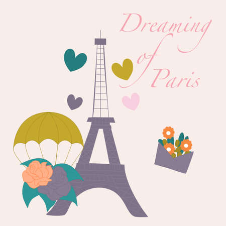 vector illustration with tour eiffel, flower balloons and hearts