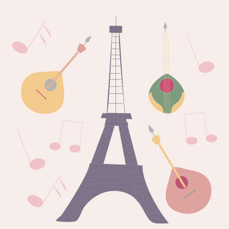 vector illustration with tour eiffel, guitars and music Ilustrace
