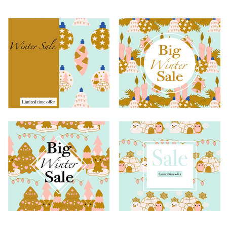 Set of four vector banners for winter promotions Illustration