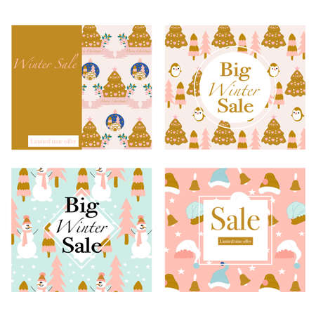 Set of four vector banners with cute animals and christmas decorations