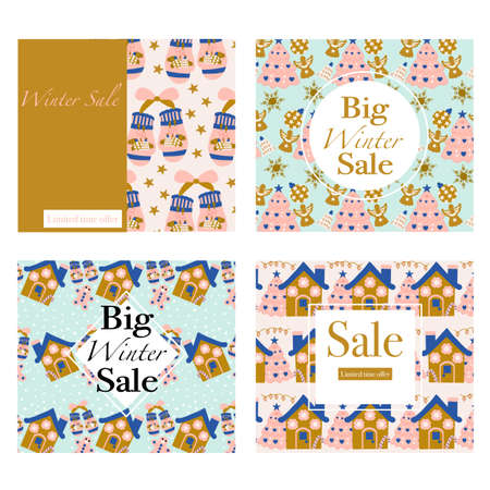 Set of four vector banners with ginger house and christmas trees Illustration