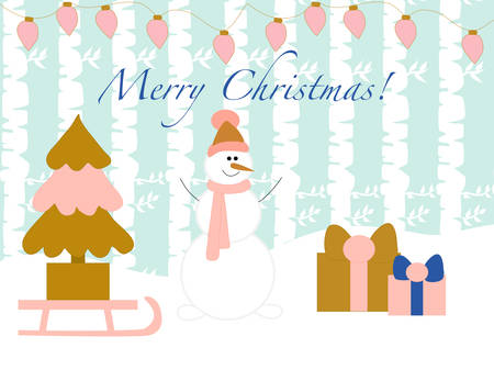 Vector banner with colorful snowman and gifts Ilustração