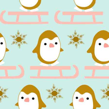 Winter seamless pattern with cute kawaii pinguin on a sleigh Vetores