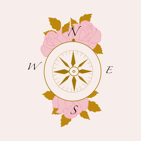 vector illustration with golden compass and elegant pink roses Иллюстрация