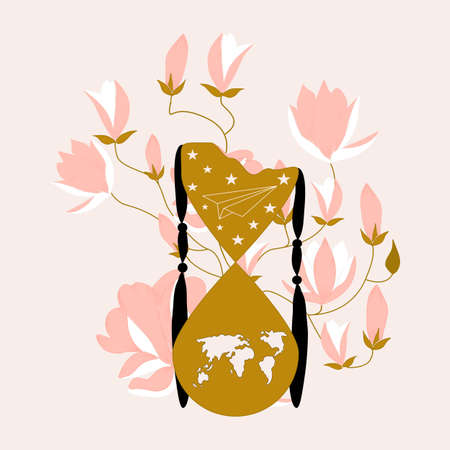 vector illustration with hour glass and pink flowers Иллюстрация