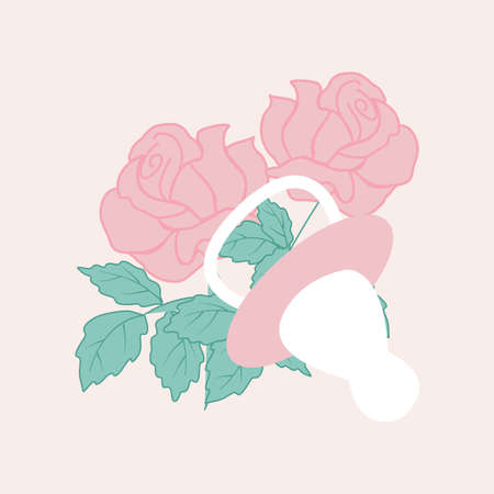 baby girl elements and pink roses, vector illustration