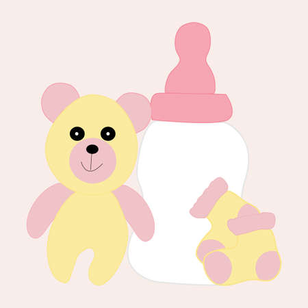 baby girl toys with teddy bear,baby bottele and socks, vector illustration