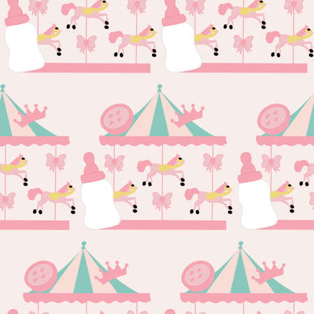 horse carousel and baby girl elements, seamless pattern Illustration