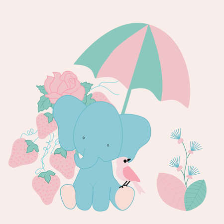 vector illustration with baby elephant, umbrella and strawbbery