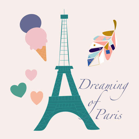 vector illustration with tour eiffel, ice cream and colorful leave Ilustrace