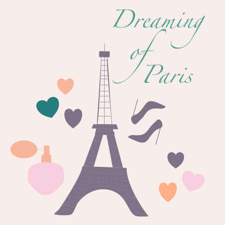 vector illustration with tour eiffel, perfume and high heels Ilustrace